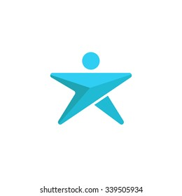 Abstract man logo star shaped, blue graphic arrow silhouette human direction growth success