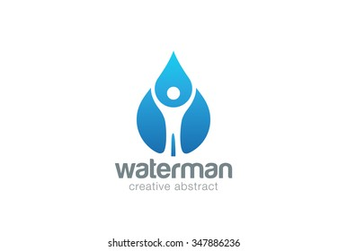 Abstract Man in Water drop Logo design vector template. Liquid droplet clear natural mineral aqua Logotype concept icon.