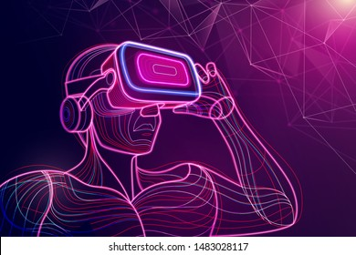 Abstract of man wear VR head set and going to reality world, vector art and illustration.