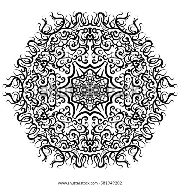 abstract mandala circular monochrome pattern. vector illustration