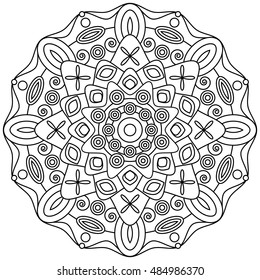 Abstract mandala ornament for coloring book pages.