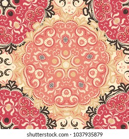 Abstract mandala pattern.Boho and gypsy style. Ethnic ornament. Hand - drawn background.