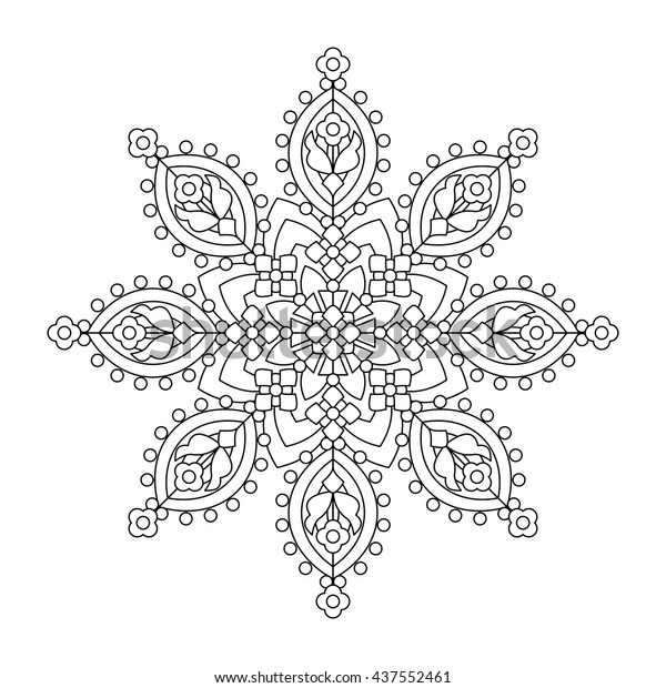 Abstract Mandala Whimsical Snowflake Line Art Stock Vector ...