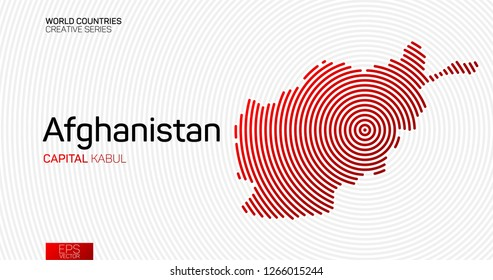 Abstract map of Afghanistan with red circle lines