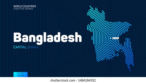 Abstract map of Bangladesh with hexagon lines