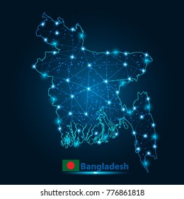 Abstract map of bangladesh with nodes linked by lines arranged. 3d mesh .vector illustration.