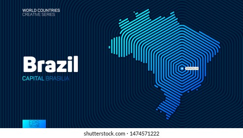 Abstract map of Brazil with hexagon lines