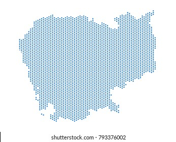 Abstract map of Cambodia dots square Blue,Pixel lines. Vector illustration eps 10.