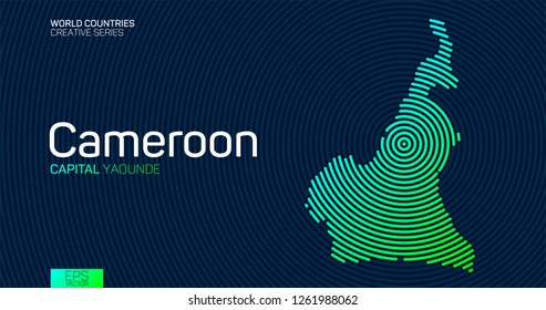 Abstract map of Cameroon with circle lines