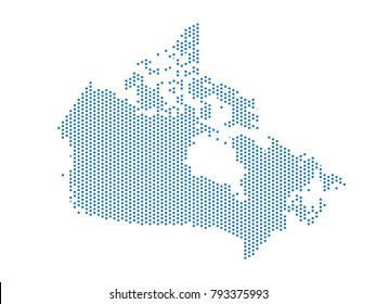 Abstract map of Canada dots square Blue,Pixel lines. Vector illustration eps 10.