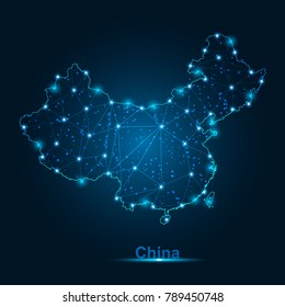 Abstract map of China with nodes linked by lines arranged. 3d mesh .vector illustration.