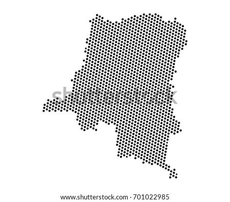 Abstract Map Democratic Republic Congo Dots Stock Vector Royalty