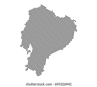 Abstract map of Ecuador dots planet, lines, global world map halftone concept. Vector illustration eps 10.
