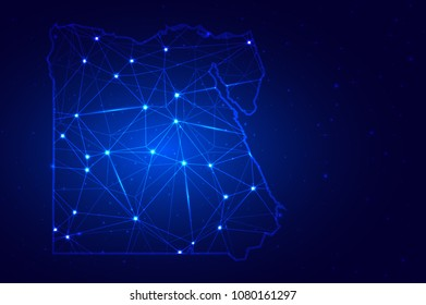 Abstract Map of Egypt from polygonal blue lines and glowing stars, Social communications background. Vector illustration eps10.