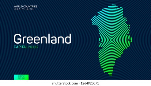 Abstract map of Greenland with circle lines