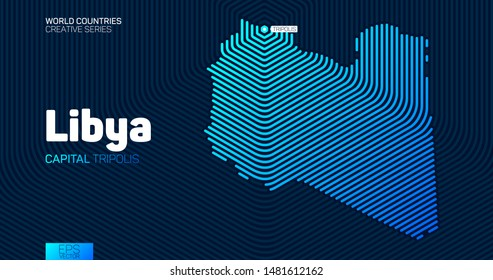 Abstract map of Libya with hexagon lines