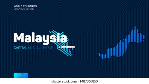 Abstract map of Malaysia with hexagon lines