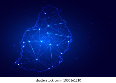 Abstract Map of Mauritius from polygonal blue lines and glowing stars, Social communications background. Vector illustration eps10.