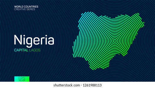 Abstract map of Nigeria with circle lines