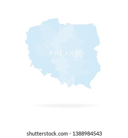 Abstract Map of Poland Vector Illustration for Card, Poster, Wall Art, Printing, Decoration. Light Blue Map Isoltated on a White Background. Simple Watercolor Style Vector Design.
