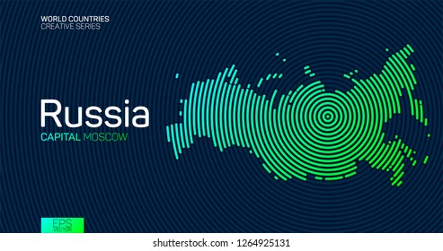 Abstract map of Russia with circle lines