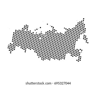 Abstract map of Russia dots planet, lines, global world map halftone concept. Vector illustration eps 10.