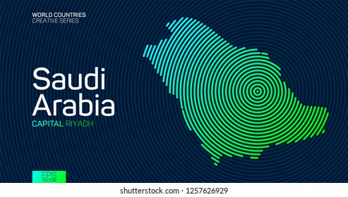 Abstract map of Saudi Arabia with circle lines
