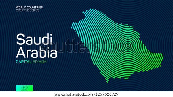 Abstrakt Kort Over Saudi Arabien Med Cirkellinjer Lagervektor