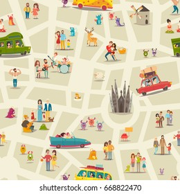 Abstract map seamless vector background. People, happy families, childrens, musicians and animals on abstract map wallpaper. Street map pattern, cartoon detailed illustration