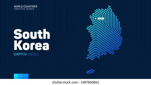 Abstract map of South Korea with hexagon lines
