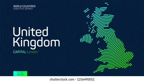 Abstract map of United Kingdom with circle lines