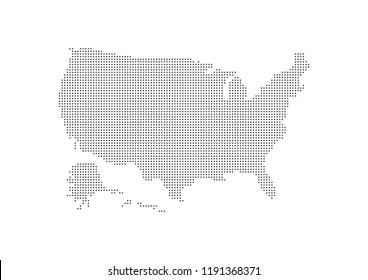 Abstract map of the United States created from dots. Technology and communication network map concept. Vector illustration