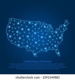 Abstract map of the USA created from lines, bright points and polygons in the form of starry sky, space and planets. Map of United States of America with stars, universe and connected line. Vector.