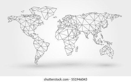 Abstract map of the world with connected triangular shapes formed from lines