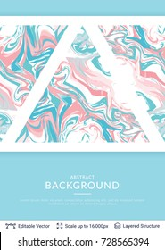 Abstract marble background. Vector ink texture. Soft colors and text.