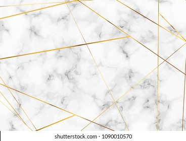 Abstract marble pattern background with gold minimalistic lines layout. Vector illustration