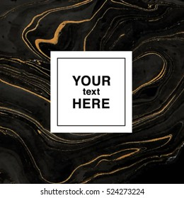 Abstract marbling background in black and golden colors for invitation template