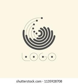 Abstract Marine Logo. Creative Wave Graphic Design. Futuristic Circular