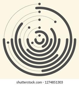 Abstract Marine Logo. Creative Wave Graphic Design. Futuristic Circular Background