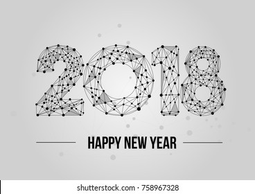Abstract mash line and point 2018. Vector New Year illustration. Polygonal low poly future technology background. Geometric Greeting card.