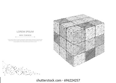 Abstract mash line and point 3D Disassembled Puzzle cube on white background with an inscription. Starry sky or space, consisting of stars and the universe. Vector team building illustration