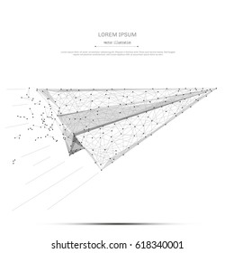 Abstract mash line and point aircraft origami on white background with an inscription. Starry sky or space, consisting of stars and the universe. Vector business illustration