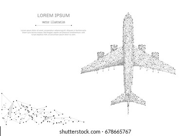 Abstract mash line and point airliner top view on white background with an inscription. Starry sky or space, consisting of stars and the universe. Vector business illustration