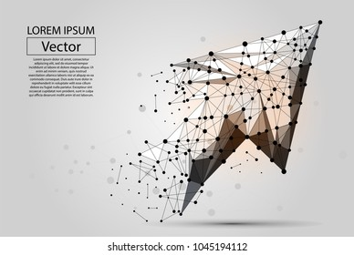 Abstract mash line and point Arrow. Vector polygonal low poly business illustration.