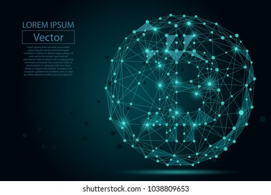 Abstract mash line and point Bitcoin. Vector business illustration. Polygonal low poly currency.