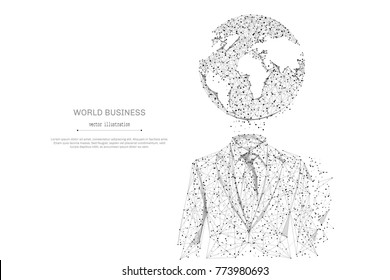 Abstract mash line and point businessman in suit with planet origami on white background with an inscription. Starry sky or space, consisting of stars and the universe. Vector business illustration