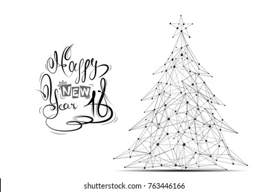 Abstract mash line and point Christmas tree on white background with an inscription. Starry sky or space, consisting of stars and the universe. Vector happy new year illustration