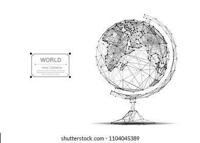 Abstract mash line and point of Globe origami on white background with an inscription. Polygonal image of Planet Earth. Vector world illustration.
