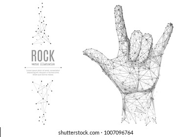 Abstract mash line and point Hand in rock n roll sign origami on white background with an inscription. Starry sky or space, consisting of stars and the universe. Vector lifestyle illustration