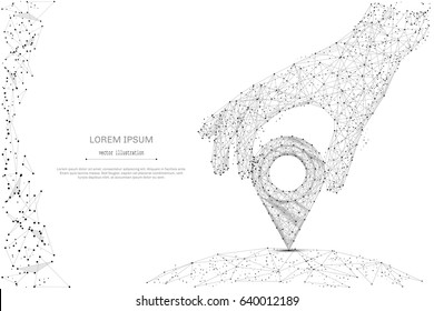 Abstract mash line and point hand holding pin on white background with an inscription. Starry sky or space, consisting of stars and the universe. Vector business illustration
